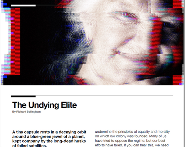 image of a sci-fi viewscreen, distorted by jamming, showing an older woman